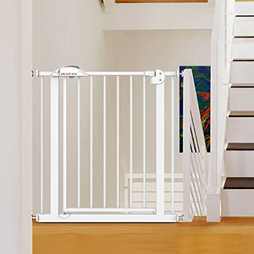 Extra Breit und groß Baby Tor Druck montiert Indoor Safety Gate Einstellbar Welpen Haustier Laufgitter für Treppe Tür Weg Weiß Eisen, 75-149 cm Breit (Größe : 95-104CM) (101 Welpen)