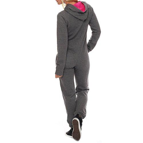 99U2 Finchgirl Pinked Damen Jumpsuit Jogger Einteiler Jogging Dunkelgrau - 3