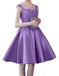La mia Braut Spitze Knielang Abendkleider Ballkleider Partykleider  Festlichkleider Kurz midi Satin Rock c0c230c3b1