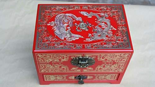 QARYYQ Kupfer eingelegte Abalone Muschel Inlay Kupfer Schale Geld Klavier Drachen und Phönix Schmuckschatulle 21 * 14 * 14.5cm Brille Aufbewahrungsbox