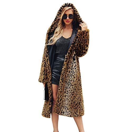 Cappotto in pelliccia sintetica con cappuccio a maniche lunghe con stampa leopardata invernale delle donne soprabito sexy di outwear cappotto in pelliccia sintetica selvaggia con stampa leopardata