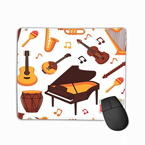 Customized Rectangle Mousepad,Cute Gaming Mouse Pad Mat 11.81 X 9.84 Inch Musical Instruments Flat Icons Isolated Set Orchestra harp Rock Banjo Guitar Piano Music Notes Variegated