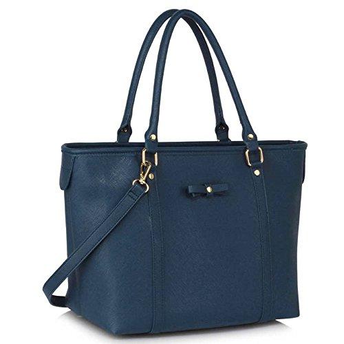 LeahWard® Große Größe Bogen Handtaschen Tote Schulter nett Groß Taschen Marine Decorative Bogen Tie Tote