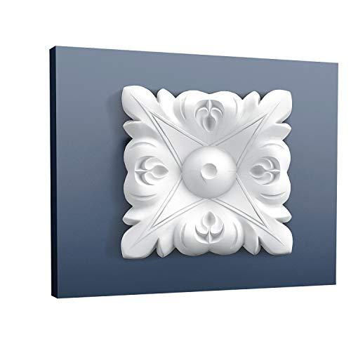 Eckelement Stuck Orac Decor P21 LUXXUS Eckplatte Quadrat Zierelement Gesims Decken Wand Leiste Blätter Dekor | 6 x 6 cm - Blatt Stuckleisten