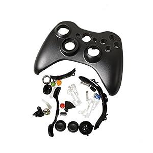 Timorn Full Gehäuse Shell Buttons Thumbsticks Ersatz Fall Custom Cover Kit für Xbox 360 Wireless Controller (Schwarz)