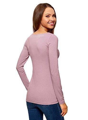 oodji Collection Damen Langarmshirt Violett (8002N)