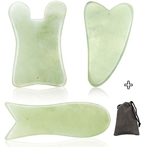 SAYOPIN Gua Sha Brett Guasha Scraping Massage Werkzeug 3er Set SPA Akupunktur Haut Gesichtspflege Behandlung Therapie Trigger Point Behandlung Punkt Erheben Deines Gesicht und Lymphdrainage (grün)