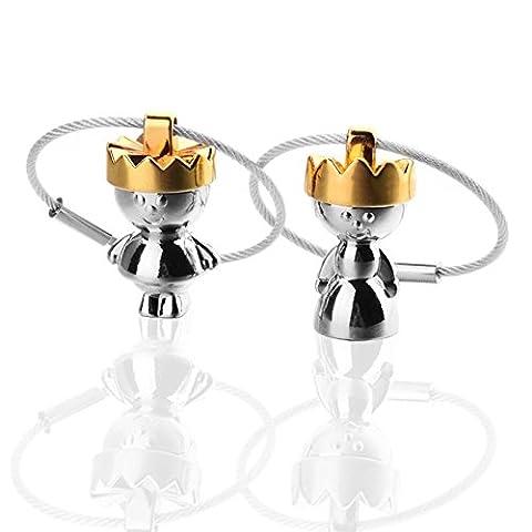 MZP König Königin Paar Schlüsselanhänger Liebhaber Metall-Schlüsselanhänger Männer und Frauen Stahl Schlüsselring Schlüsselring Geschenk , king + queen keychain