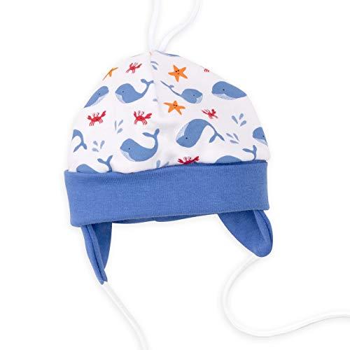 Baby Sweets Baby Mütze Jungen weiß blau | Motiv: Nice to Sea You | Babymütze zum Binden für Neugeborene & Kleinkinder | Größe: 3 Monate (62)