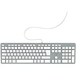 Mobility Lab Clavier français AZERTY filaire pour Mac – blanc et argenté