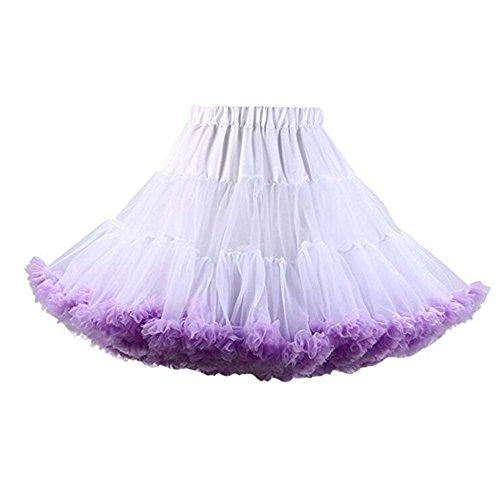 Kostüm Brauner Rock - FOLOBE Erwachsene luxuriöse weiche Chiffon Petticoat Tüll Tutu Rock Damen Tutu Kostüm Petticoat Ballett Tanz Rock