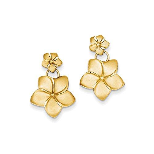 Baumeln Diamond Ohrringe Black (Black Bow Jewellery Company: doppelt Satin Plumeria Baumeln Post Ohrringe in 14K Gelb Gold)