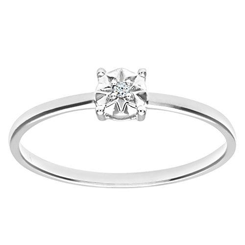 Naava Anillo para Mujer de Oro Blanco 9K con Diamante 0.01 ct Talla 14