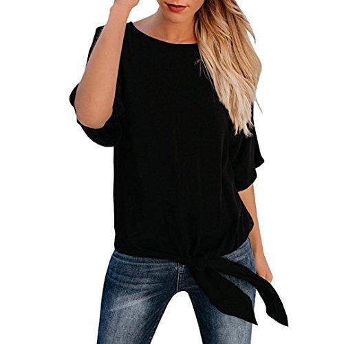 ESAILQ Damen Basic Longshirt Oberteil T-Shirt Top(M,Schwarz)