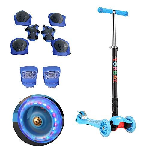 Yorbay Monopattino a 3 Ruote per Bambini Regolabile Scooter Freestyle Pieghevole Fino a 60 kg, LED Ruote, alla Luce Rana, Blu con Accessori di Sicurezza