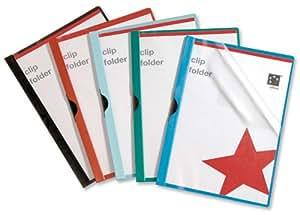 5 Star Clip Folder 3mm Spine for 30 Sheets A4 Black [Pack of 25]
