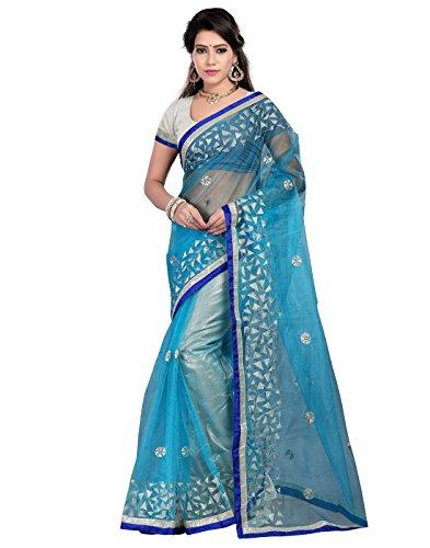 Saree Sagar Women\'s Bright Net Saree With Blouse Piece (TM-555_Blue)