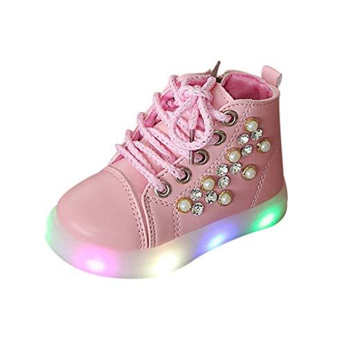 ZHANSANFM Baby Mädchen LED Mini Sneaker Süß Bling Perlen Luminous Sport Turnschuhe Rutschfeste Weiches Licht Glitter Kurze Stiefel Blinkschuhe Mode Beiläufige Kinderschuhe 26 EU Rosa