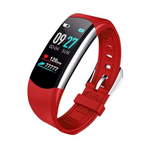 Muium Smart Watch Sport Fitness Aktivität Herzfrequenz Tracker Blutdruck Kalorien Armband mit Pulsmesser Wasserdicht Smartwatch Schrittzähler (Rot)