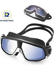 KATELUO Occhialini da Nuoto,Anti-Appannamento Occhiali da Nuoto Agonistico Protezione UV Impermeabile per Adulti,Bambini +12 Anni (Nero)