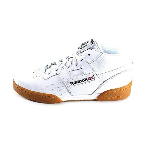 Reebok Work out Mid Gum garçons Cuir Baskets white-Navy-Gum