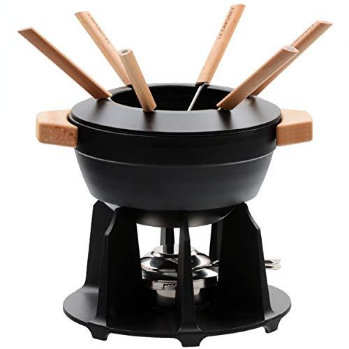 Le Creuset Service à fondue luxe poignées bois, noir