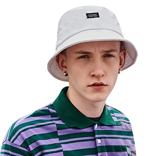 CACUSS Unisex Fischerhut Damen Hut Modern Faltbar Sonnenschutz Eimer Hut für Outdoor Mädchen Sonnenhut aus 100% Baumwolle Safarihut(XL, Weiß) (Xl Eimer Hut)