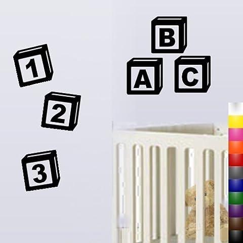 ANGYZB Nero & 123 blocchi ABC Fun & Adesivi da parete per bambini - Blocchi Nursery Abc