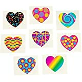 Pack of 12 - Funky Heart Temporary Tattoos - Great Party Loot Bag Fillers