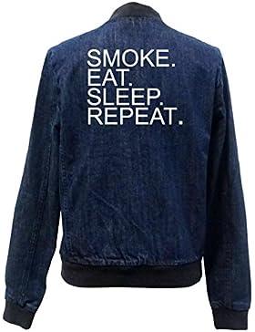 Eat Sleep Smoke Repeat Bomber Chaqueta Girls Jeans Certified Freak