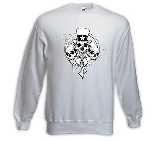 Rockabilly Pullover 3 Skulls weiß Uncle Sam Army Biker V8 USA Weiß