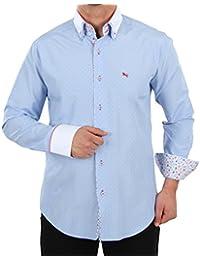 e31d886b33dd Herren Oberhemd Slim Fit in Hellblau in sich weiss gemustert, für Herren  BESTE QUALITÄT, HK Mandel Slim Fit Langarm Festliches Hemd,…