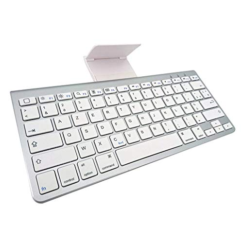perlo33ER Ultra Slim 78 Tasten Wireless Bluetooth Tastatur mit Halterung für Tablet Laptop PC - Weiß -