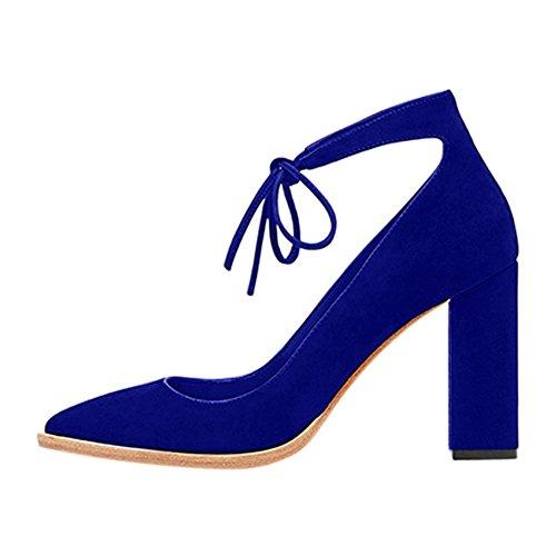 Damen Pumps Fellsamt Spitze Zehen High-Heels Blockabsatz Knöchelriemchen Blau