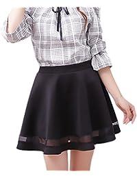 Faldas Cortas Mujer Elástica Cintura Alta Una Línea Swing Falda Joven  Bastante Plisada Elegantes Moda Informal 4772d2a26f89