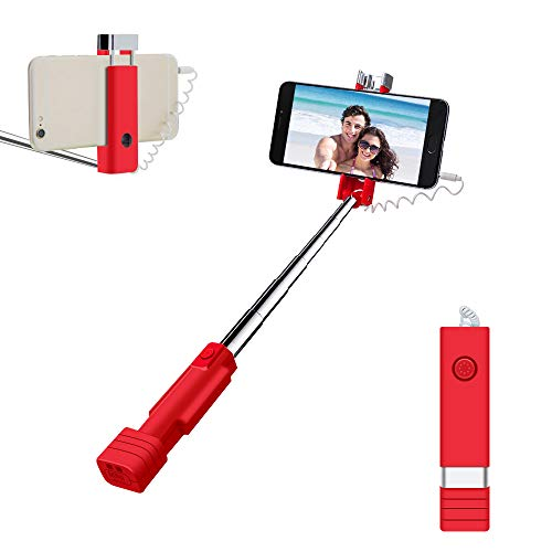 Atongm Mini Selfie Stick,Selfie Stange Handy Selfie Sticks Erweiterbar Mini Alle in Einem Draht Selfie Stick für Handy (iPhone, Android) Rot