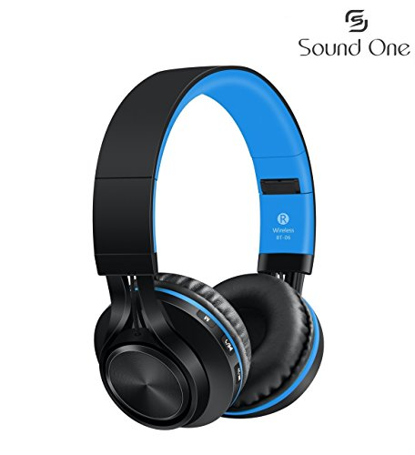Sound One BT-06 Bluetooth Headphones Build in Microphone Wireless Headphones with TF Card FM Radio and Extra Audio Cable for Most Cellphones Laptop TV Bluetooth 4.0 Devices (Black/Blue)