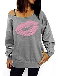 rokirs Mujer Casual frío un Hombro Suelto suéter Sexy Sudadera Sudaderas con Capucha