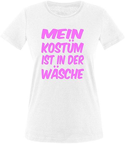 Luckja Mein Kostüm ist in der Wäsche Damen Rundhals T-Shirt Weiß/Rosa