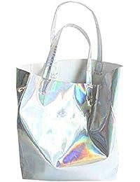 Mily Hologram Tote Bag Laser PU Shoulder Bag For Women-Lightweight,Laser PU Leather Handbag