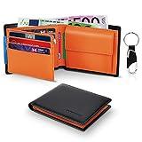 Portefeuille Homme Cuir Véritable RFID Trifold avec Poche à Monnaie,2 Compartiment à Billets,10...