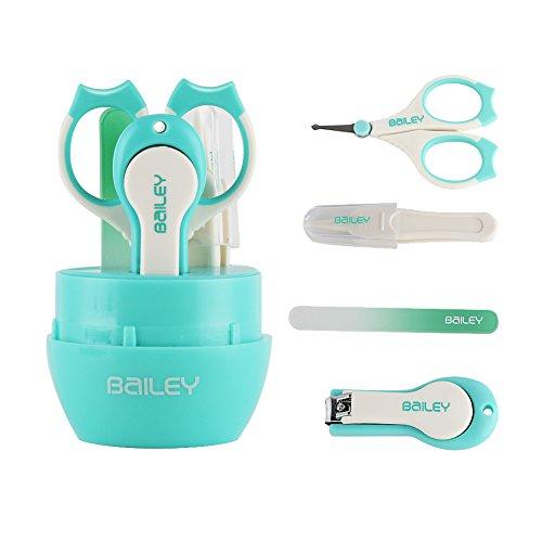 KYG Babypflege Set Pflegeartikel mit Nagelschere, Baby Nagelknipser, Glasnagelfeile und Pinzette Grün