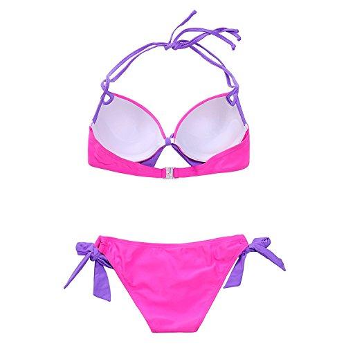 MissTalk Damen Push up Bikini Sets Halter Bikinioberteile und brazilian bikini string Bikinihose Rose