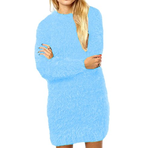Pull Long Femme Pull Maille Oversize Pull Over Ample Pulls Col Rond Robe Pull Longue Sweater Manche Longue Chandail Tricoté Top Tricot Chic Feminin Chaud Pullover Automne Hiver Chic Simple Lac Bleu