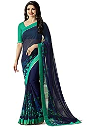 Krishna Fab Women's Georgette Printed Saree With Blouse Piece - A15_Blue_Blue_Free Size