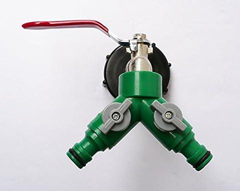 Farm & Field Hardware Robinet en laiton et bouchon IBC pour 2,5/5cm avec double sortie pour valves individuelles