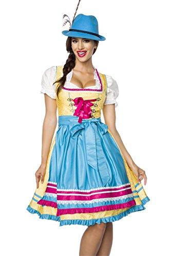 Luxus Designer Dirndl mit Schürze Kleid Dirndkleid Oktoberfest Tracht Trachtenkleid Spitze Brokat Paspelierung Rüschen Borte Gelb Blau Pink XS - 3XL