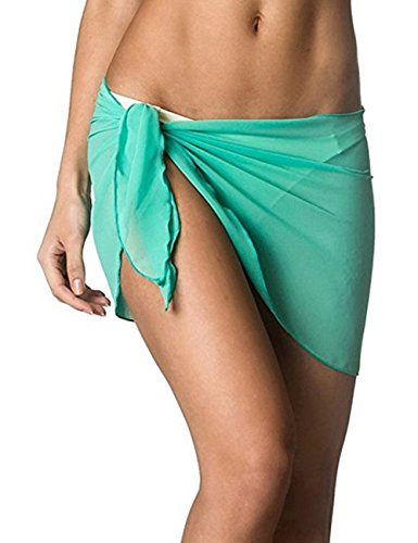 Looseplus Damen Sommer Chiffon Überwurf Strandtuch Sarong Pareo Badeanzug  Wickelnkleider Bikini Cover Up Grün