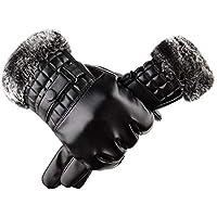 Guantes de Cuero de 1 par - Protector más cálido con Forro Polar - Guantes a Prueba de Viento de Pantalla táctil a Prueba de frío para Motocicletas al Aire Libre