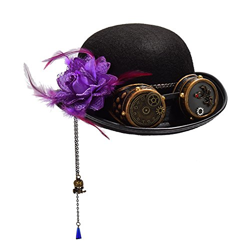 83b69106a96a GRACEART Steampunk Hat Victorian Gears Rose Decor Cosplay Top Hat steampunk  buy now online